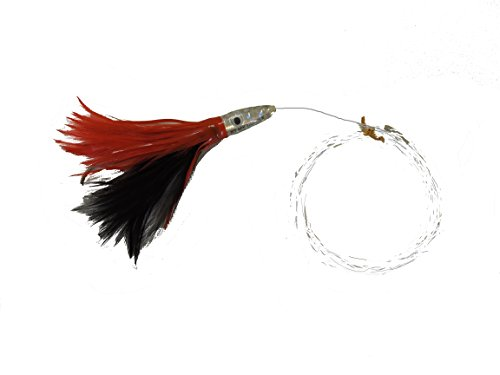 DUSTER FEATHER LURE RED AND BLACK RIGGED