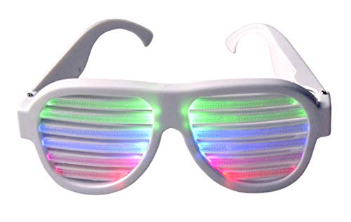 UPLEYING USB Rechargeable Sound Reactive Light Up Glasses (WHITE) -