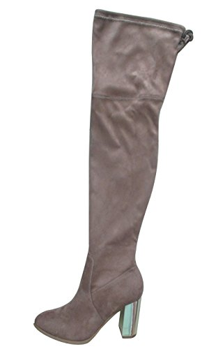 Closed Over Glaze Round Toe Women's Knee Stretch Taupe Boot the Heel Block Metallic FqwfHgpxq