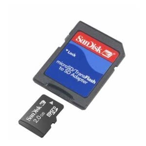 SanDisk 2GB MicroSD / TransFlash Card w/SD Adapter camcorder 2 SanDisk 2 GB MicroSD/TransFlash CardGeneral Features: 2 GB capacity Compatible with all MicroSD/Tran Includes a Secure Digital MicroSD/TransFlash adapter with lock Sandisk SDSDQ-2048 (Bulk Package)