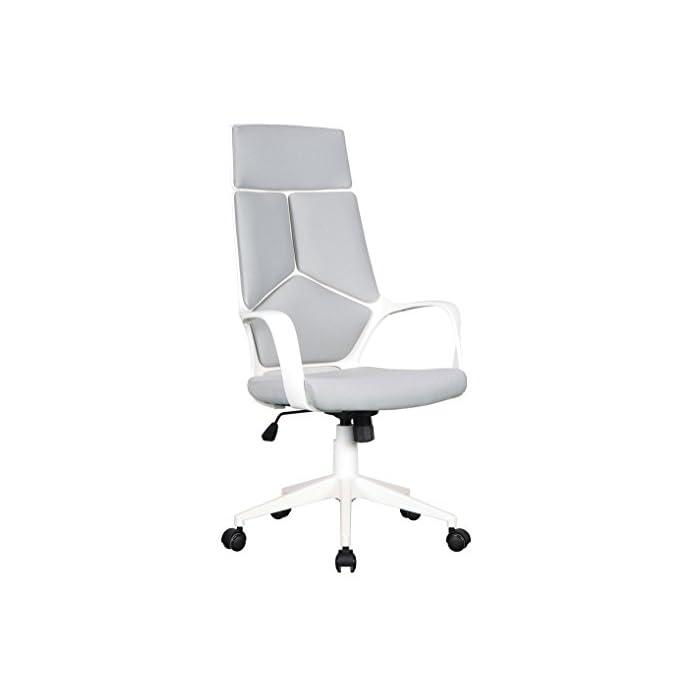 Color: Gris / Blanco Asiento regulable sin niveles fijos Asiento y respaldo de tela
