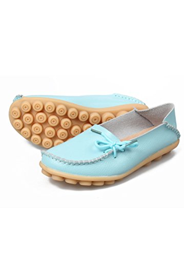MatchLife femme Vintage Leather Flat Shoes Casual Chaussures Bleu Ciel