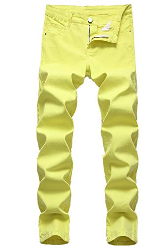 Men's Yellow Fashion Mid Waist Straight-Leg Comfy Fit Stretch Solid Colors Basic Jeans Pants