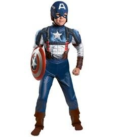 [Disguise Marvel Captain America The Winter Soldier Movie 2 Captain America Retro Classic Muscle Boys Costume, Medium] (Captain America Boys Costumes)
