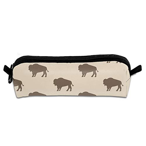 (YILISA Pencil Case - Neutral Buffalo Bison Herd Pencil Bag Coin Purse Portable Stationery Pouch Bag with Zipper for Students Kids)