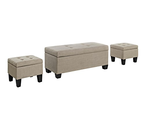 - Picket House Furnishings Everett 3 Piece Ottoman Set in Natural