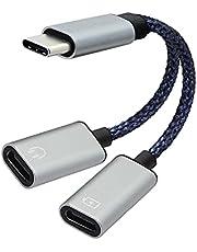 RIIEYOCA USB C Splitter, Dual Type C Splitter Adapter, Oproep, Draad controle, play muziek, voor USB C Interface