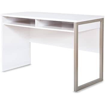 Interface Desk  Sleek Metal Finish  Open Storage for Laptop and Tablet   Pure White