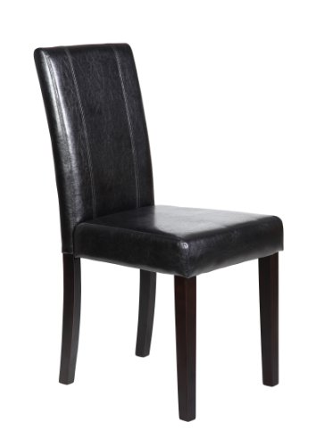 Set of 2 New Elegant Design Leather Dining Chairs Furniture in 4 Colors (Black)