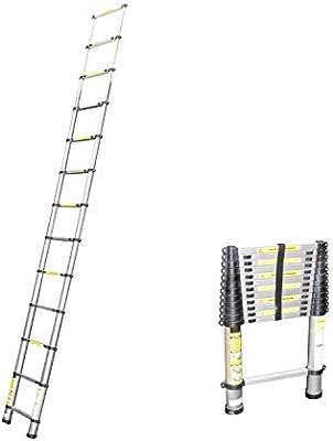 Escalera telescópica – Escalera extensible de aluminio telescópica multiusos Escalera, hasta 3,80 m Escalera: Amazon.es: Bricolaje y herramientas