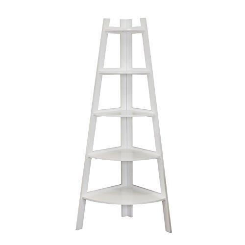 Danya B Five Tier Corner Ladder White Display Bookshelf