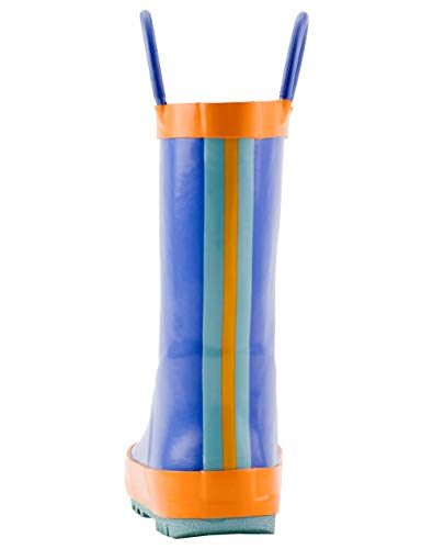 e61f8cd619b0e OAKI Kids Rain Boots with Easy-On Handles, Blue, Orange & Aqua, 8T US  Toddler