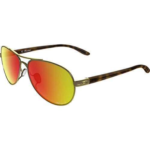 Oakley Womens Tie Breaker Polarized Sunglasses, Polished Gold/Ruby Iridium, One - Iridium Oakley Gold