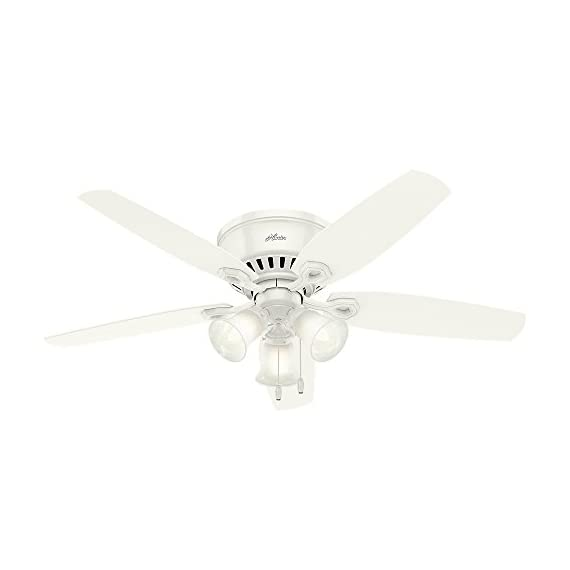 """Hunter 53326 builder indoor low profile ceiling fan with led light and pull chain control, 52"""", snow white 1 classic ceiling fan: the traditional builder fan comes with led light with swirled marble glass that will keep home interior inspired; measures 52 x 52 x 14. 59 inch multi-speed reversible fan motor: whisper wind motor delivers ultra-powerful airflow with quiet performance; change the direction from downdraft mode during the summer to updraft mode during the winter led light kit: energy-efficient dimmable led light bulbs let you control the lighting and ambiance of the living space; the long lasting bulbs have longer lifespan than traditional bulbs"""