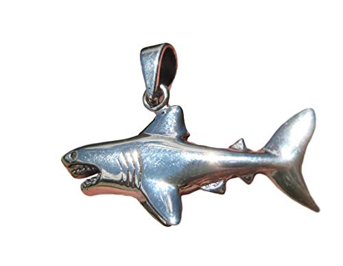 Himalayan Treasures 925 Silver Great White Shark Pendant Necklace Thailand Jewelry Art A28