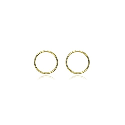 - 14K Gold Tiny Small Endless 10mm Round Thin Lightweight Unisex Hoop Earrings
