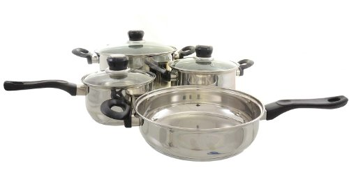 Am I Cookin'! 7 Piece Superior Stainless Steel Cookware Set