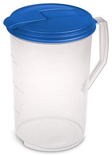Heavy Duty Round Plastic Pitcher, Blue Lid & Tab with See Through Base, Leak Proof Spill Proof Lid Spout, BPA-free (1 Gallon)