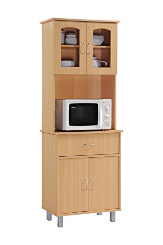 Hodedah Long Standing Kitchen Cabinet with Top & Bottom Enclosed Cabinet Space, One Drawer, Large Open Space for Microwave, Beech by HODEDAH IMPORT