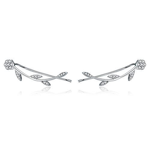 (BAMOER 925 Sterling Silver Clip on Earrings Olive Leaves Crawler Earrings Climber Ears for Women Teen Girls Fashion Earrings)