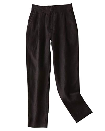 IXIMO Women's Tapered Pants 100% Linen Front Pleated with Button Closure Elastic Waist Trousers Black 16 ()