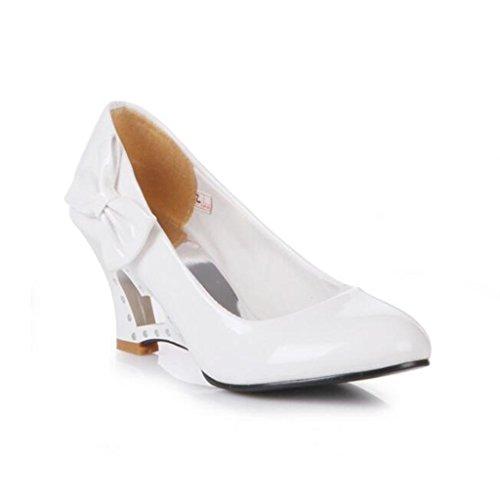 Enfiler Escarpins Fermé Bowknot a Bout Blanc Femme Compensé Binying Creux HxqCg78qw