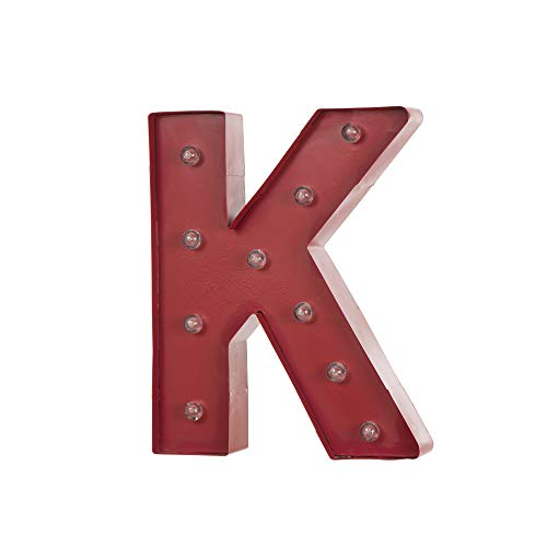 Glitzhome Vintage Marquee LED Lighted Letter K Sign Battery Operated Red -