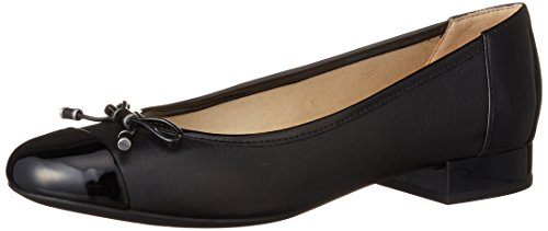 Geox Women's Wistrey 1 Ballet Flat, Black, 38.5 EU/8.5 M US (Leather Flats Geox)