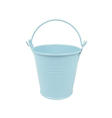 6pcs Metal Mini Bucket Candy Box Buckets with Handles Gift Pails for DIY Craft Floral Projects and Bridal Wedding Party Souvenirs Baby Showers (Blue) (Baby Shower Souvenirs Ideas)