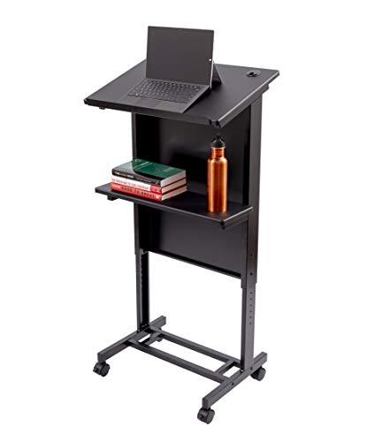 Lectern Standard Laminate - Stand Up Desk Store Mobile Adjustable Height Lectern Podium, Heavy Duty Steel Frame (Black Frame/Black Shelves)
