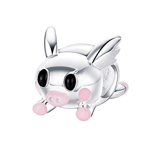 - BAMOER 925 Sterling Silver Pink Pig Charms Lucky Piggy Silver Charm Beads for Women fit Snake Bracelets DIY Jewelry Gift Valentine's Day