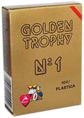 Modiano Italian Poker Game Playing Cards - RED Golden Trophy 2 Index - Single Card Deck - 100% Plastic Made in Italy (100% Modiano Italian Plastic)