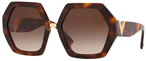 Valentino Optical Frames - Valentino VA4053 501113 Havana VA4053 Square Sunglasses Lens Category 3 Size 57