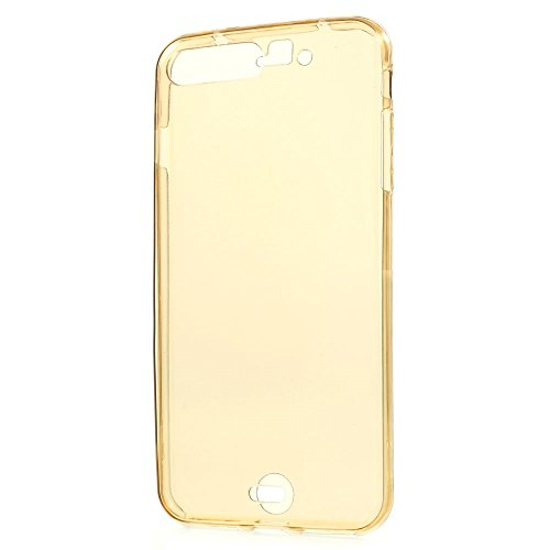 König-Shop Full TPU Case für Apple iPhone 8 Plus Schutz Hülle Handy Gold Rahmen Cover 360