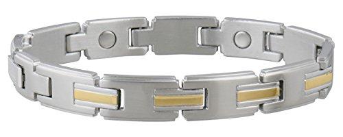 (Sabona Men's Stainless/Gold Magnetic Link Bracelet, L/XL, 1 Ounce)