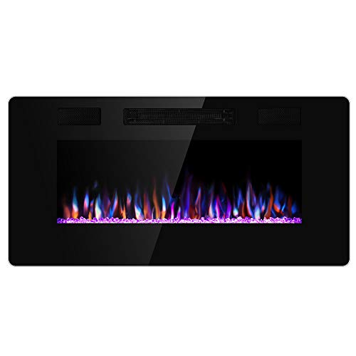 Xbeauty 36 inch Wall Mounted Recessed Electric Fireplace Insert, Ultra-Thin Lightweight LED Fireplace Heater, Flush Mount Linear Fireplace, Fit 2x4&2x6 Stud w/Touch Screen,Remote Control,1500W,Black (Electric Wall Fireplace Heaters)