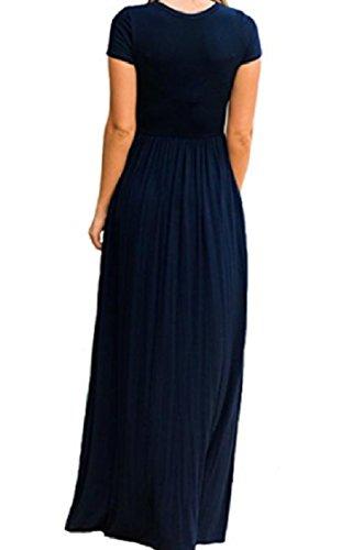 Coolred-femmes Solide Poche Col Rond Robes Courtes Manches De Couleur Bleu Marine