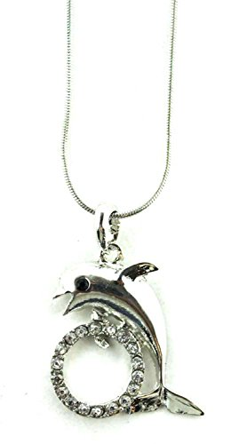 Jumping W/ Hoop Dolphin Pendant Necklace (Silver)