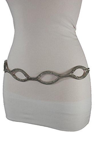 Link Chain Belt Silver Tone (TFJ Women Fashion Belt Silver Mesh Metal Chain Hip Waist Beaded Oval Shape S M L)