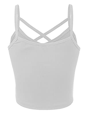 BEKDO Womens Solid Ribbed Peek-A-Boo Cut-Out Cropped Cami Tank Top-L-White