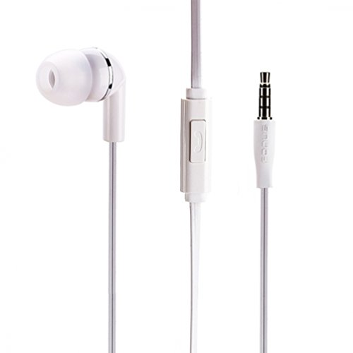 Mono Handsfree Headset Single in-ear Flat Cable Earphone Earbud White for iPhone 6 6S, Plus, 5S 5C SE - Samsung Galaxy S8 S8+ S7 S6, Edge, Edge+, S5, S4, Active, Galaxy Note 5 4 3 - LG G3 G4 G5 G6 V20 (Oem Mono Earbud)