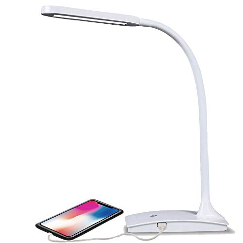 - TW Lighting IVY-40WT The IVY LED Desk Lamp with USB Port, 3-Way Touch Switch, White