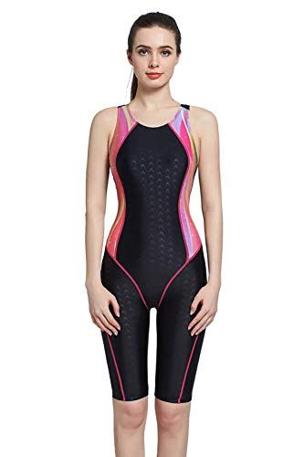 Srnfean Women`s Professional Athletic One Piece Swimsuit Durable Training Swimwear with Trunks to Knee Black/Pink Pattern Large