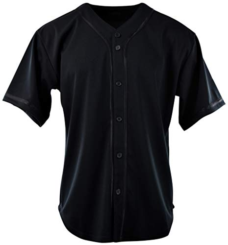 ChoiceApparel Mens Plain Solid Color Baseball Jersey (M, 107-Black)