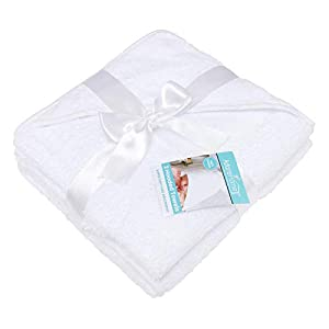 2 x Hooded Baby Towel Soft 100% Cotton Bath Wrap Pack of Two Towels, White