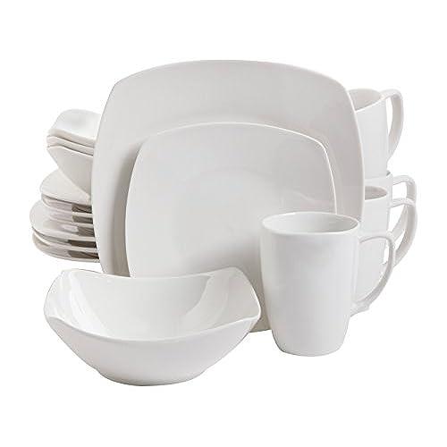 Gibson Home 16 Piece Zen Buffetware Dinnerware Set White  sc 1 st  Amazon.com & Square Plates Set: Amazon.com