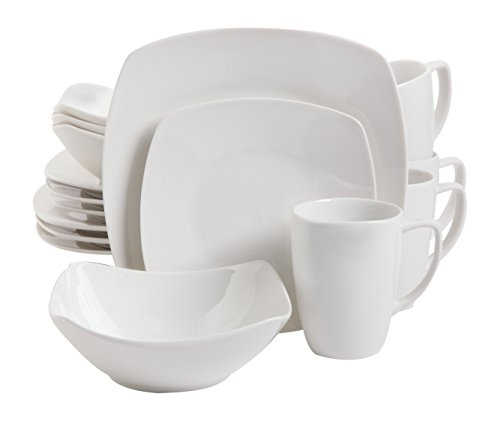 Gibson Home 16 Piece Zen Buffetware Dinnerware Set, White (White Square Dinnerware Sets)