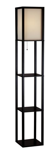 Adesso Shelf - Adesso 3138-01 Wright 63 In. Floor Lamp - Smart Switch Compatible Light Fixtures with Two Storage Shelves. Lighting Accessories
