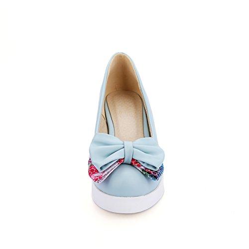 Latasa Womens Cute Bow Platform High Heel Wedge Pumps Shoes Blue UzAu7i