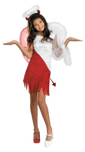 Morris Costumes HEAVENLY DEVIL CHILD, red/white, 7-8